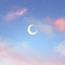 Starry sky moon powder blue